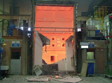 A 5m partition at the end of a fire test